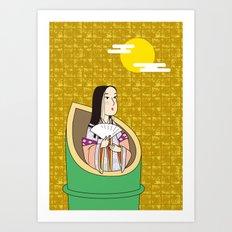 Princess Kaguya on Gold-leaf Screen Art Print
