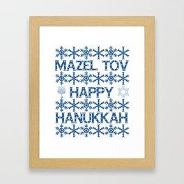 Happy Hanukkah Mazel Tov Wishes, Star of David, Menorah and Snowflakes Framed Art Print