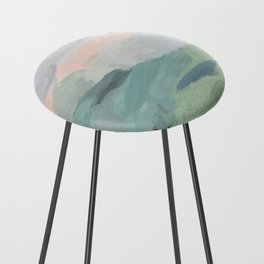 Seafoam Green Mint Black Blush Pink Abstract Nature Land Art Painting Counter Stool