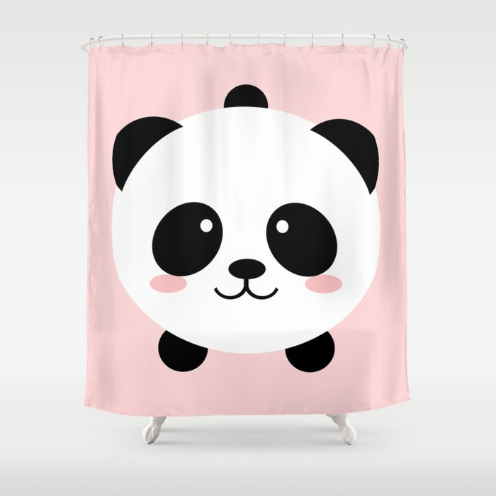 Lovely Kawai Panda Bear Shower Curtain By Eugeniaart