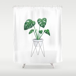 Monstera in designer plant stand with green leaves and foliage Shower Curtain