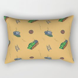 Happy Train Pattern with yellow background Rectangular Pillow