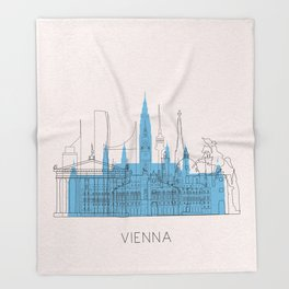 Vienna Landmarks Poster Throw Blanket