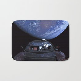 SpaceX Tesla Car in Space Earth Above Starman Speeds to Mars Bath Mat