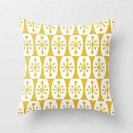 Mid Century Modern Atomic Fusion Pattern Mustard Yellow Throw Pillow