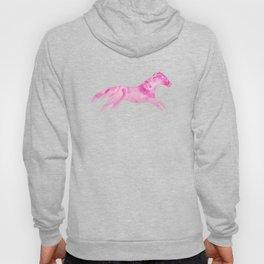 Running Watercolor Horses Pattern - Pink Hoody