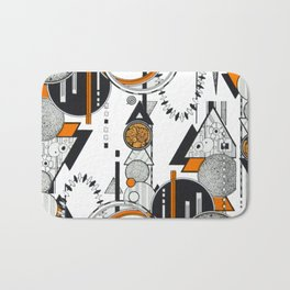 Orange and Black Geometric Design in an Art Deco / 80s Way Bath Mat