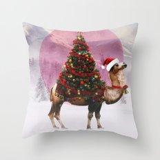 Santa Camel Throw Pillow