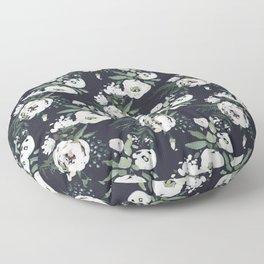 Blush pink white green black watercolor modern floral Floor Pillow