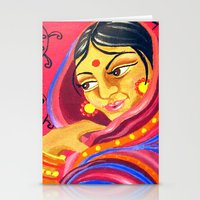hindu Stationery Cards featuring Hindu Woman by IlyLilyArt