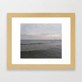 Distant Lighthouse on Lake Michigan Framed Art Print