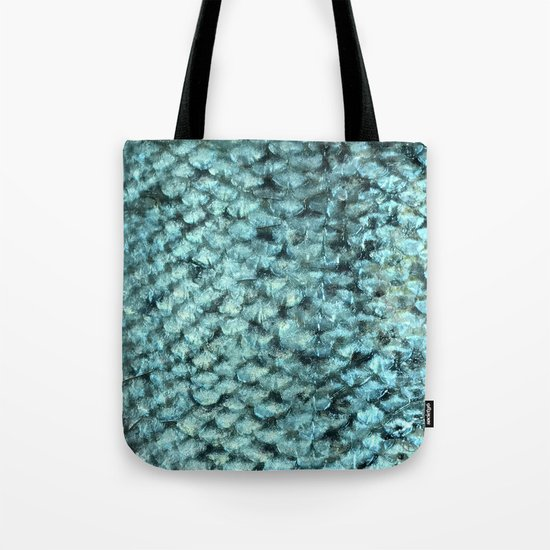 Blue aqua mermaid scales Tote Bag