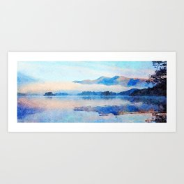 Mist Rolling off the Mountains Reflected in Derwentwater, Cumbria, England. Watercolour Painting. Art Print