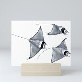 Devil fish Manta ray Mobula mobular Mini Art Print