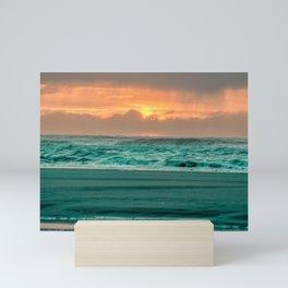 Turquoise Ocean Pink Sunset Mini Art Print