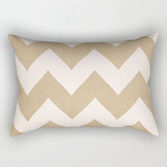 Biscotti & Vanilla - Beige Chevron Rectangular Pillow