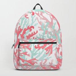 Modern hand painted coral pink teal reef coral floral Backpack