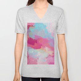 Colorful Abstract - pink and blue pattern Unisex V-Neck
