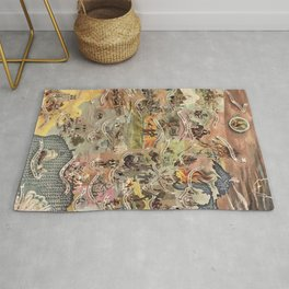 History of America Pictorial State map of Historical Events landscape painting by Aaron Bohrod Rug