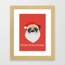 Merry Puggin Christmas Framed Art Print