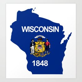 Wisconsin Flag in State Shape Art Print