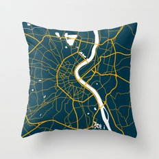 Bordeaux France Map Throw Pillow