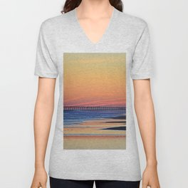 Illuminated Sunset Pier at Surf City NC Unisex V-Neck