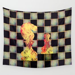 Grunge  Chessboard and Chess Pieces Wall Tapestry
