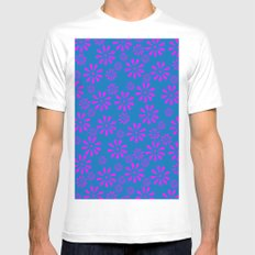 Spring Flowers White MEDIUM Mens Fitted Tee