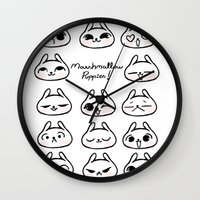 puppies Wall Clocks featuring Marshmallow Puppies! by Carina Soares