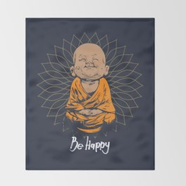 Be Happy Little Buddha Throw Blanket