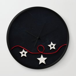 Stars on a Red Rope (Color) Wall Clock