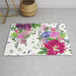 Floral print with tulips and anemones Rug