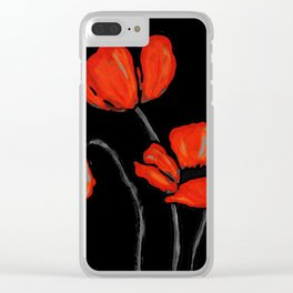 Red Poppies On Black by Sharon Cummings Clear iPhone Case