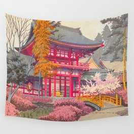 Japanese Woodblock Print Vintage Bright East Asian Red Pagoda Spring Garden Wall Tapestry