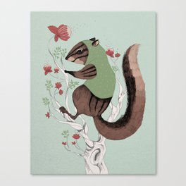 Squirrel Green Hood Canvas Print