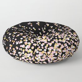 Floating Dots - White, Gold and Pink on Black Floor Pillow