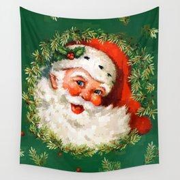 Jolly Ole Santa Pixel Wall Tapestry