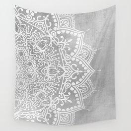 Grey Mandala Wall Tapestry