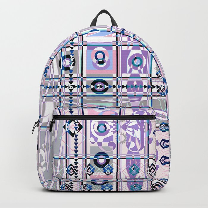 Abstract geometric pattern on white background. Backpack