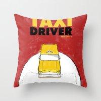 taxi driver Throw Pillows featuring Taxi Driver by Matthew Bartlett