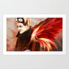 Upon Red Wings Art Print