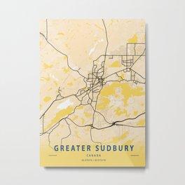 Greater Sudbury Yellow City Map Metal Print