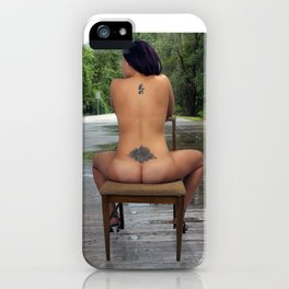 Nude Woman Sitting on a Bridge iPhone Case