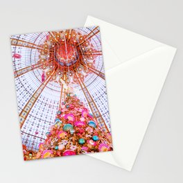 Christmas Tree in Paris at Galeries Lafayette Department Store Stationery Cards