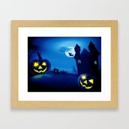 Background with pumpkins in Halloween party Framed Art Print