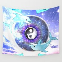 dolphin Wall Tapestries featuring DOLPHIN by Riot Clothing