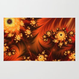 Glowing Fractal, Abstract Art With Warmth Rug