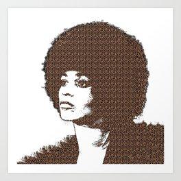 Angela Davis - White Background Art Print