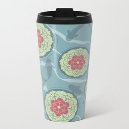 Koi Lotus Pond Metal Travel Mug